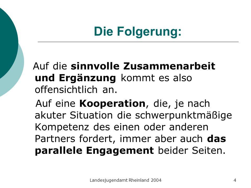 Landesjugendamt Rheinland 20044 Die Folgerung: Auf die sinnvolle Zusammenarbeit und Ergänzung kommt es also offensichtlich an. Auf eine Kooperation, d