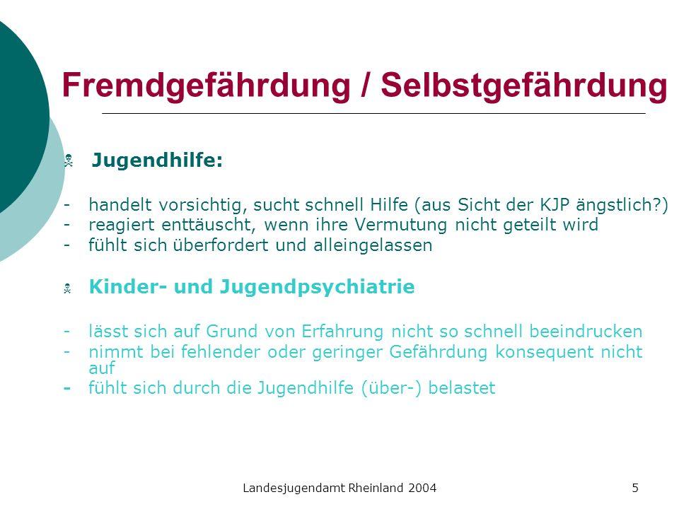 Landesjugendamt Rheinland 20045 Fremdgefährdung / Selbstgefährdung Jugendhilfe: - handelt vorsichtig, sucht schnell Hilfe (aus Sicht der KJP ängstlich