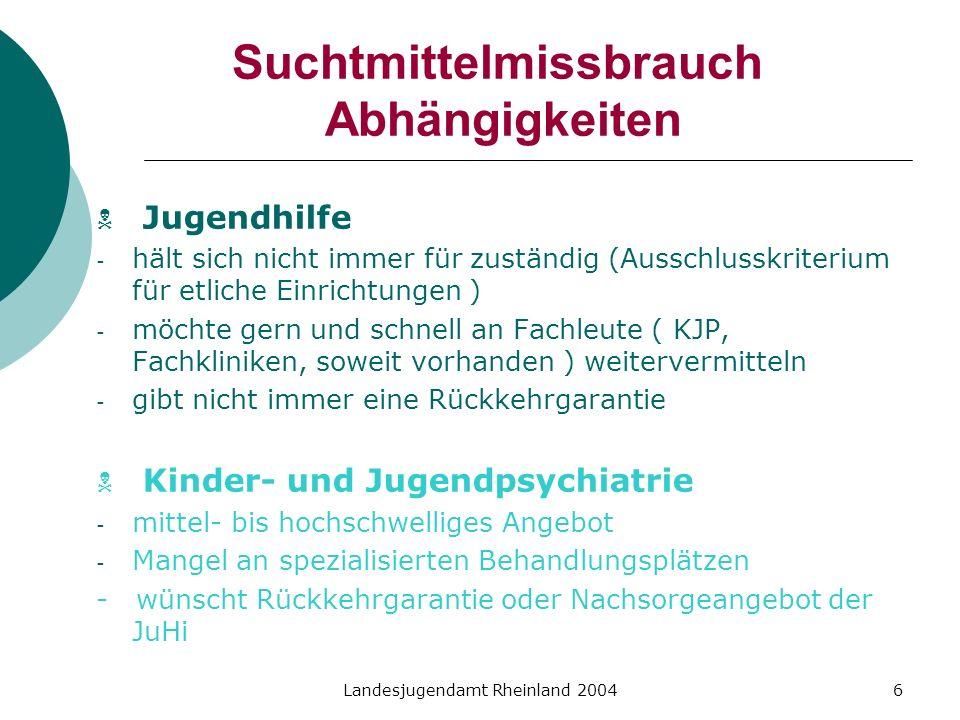 Landesjugendamt Rheinland 20046 Suchtmittelmissbrauch Abhängigkeiten Jugendhilfe - hält sich nicht immer für zuständig (Ausschlusskriterium für etlich