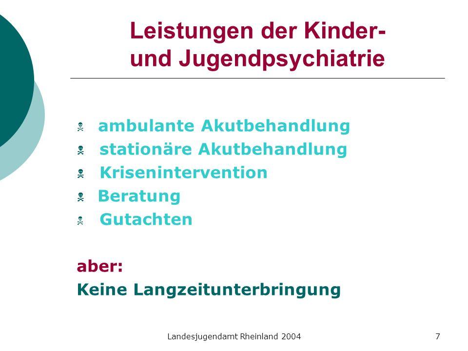 Landesjugendamt Rheinland 20047 Leistungen der Kinder- und Jugendpsychiatrie ambulante Akutbehandlung stationäre Akutbehandlung Krisenintervention Ber