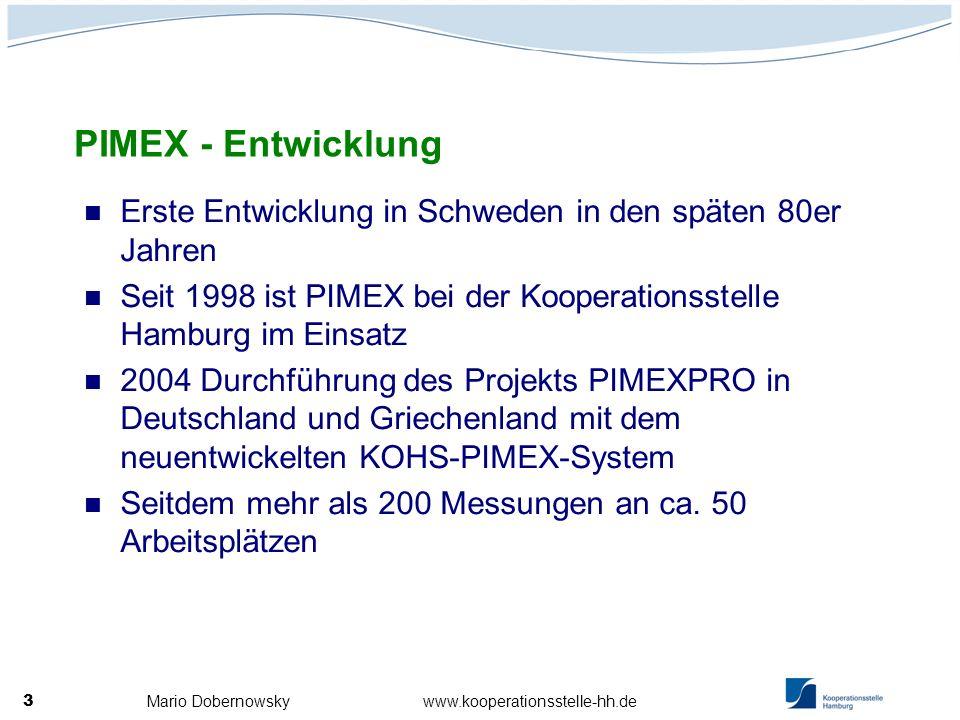 Mario Dobernowsky www.kooperationsstelle-hh.de 3 Erste Entwicklung in Schweden in den späten 80er Jahren Seit 1998 ist PIMEX bei der Kooperationsstell