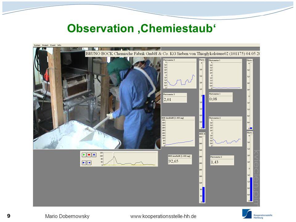 Mario Dobernowsky www.kooperationsstelle-hh.de 9 Observation Chemiestaub