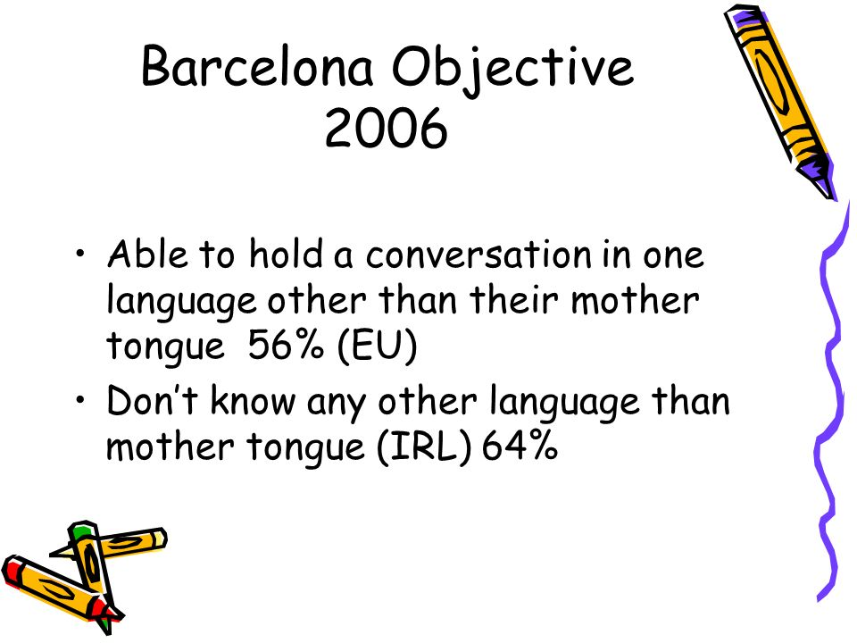 Barcelona Objective 2006 Able to hold a conversation in one language other than their mother tongue 56% (EU) Dont know any other language than mother