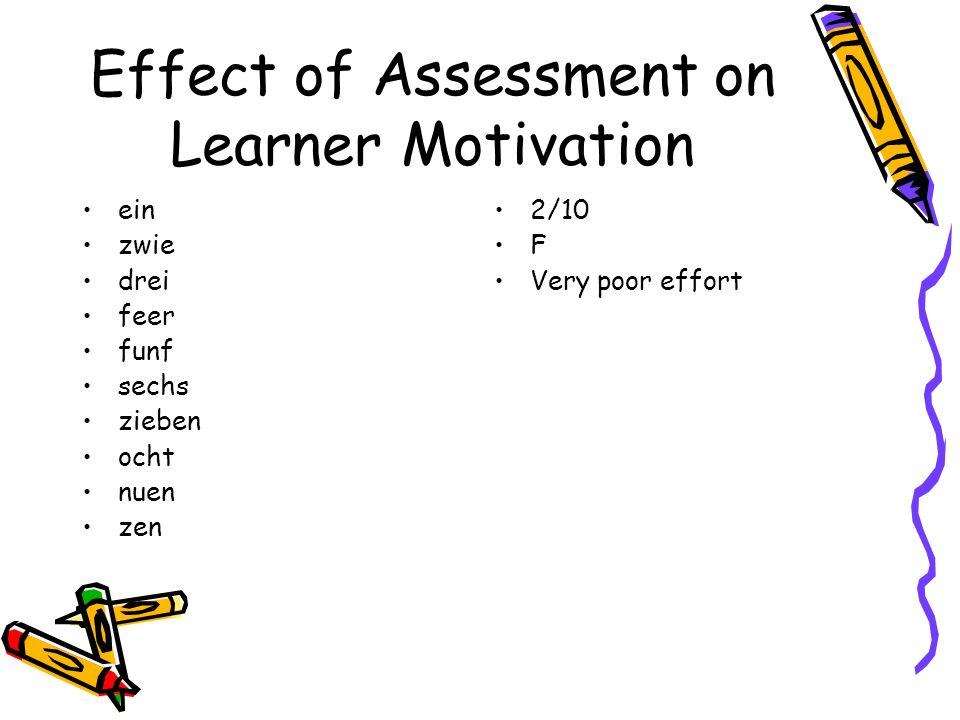 Effect of Assessment on Learner Motivation ein zwie drei feer funf sechs zieben ocht nuen zen 2/10 F Very poor effort