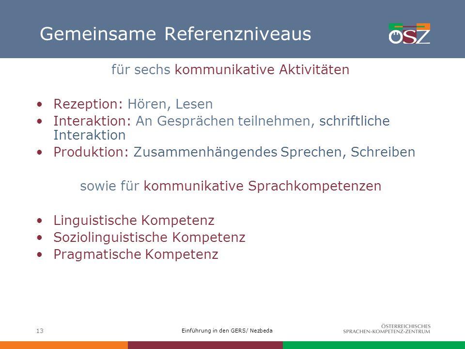 Einführung in den GERS/ Nezbeda 13 Gemeinsame Referenzniveaus für sechs kommunikative Aktivitäten Rezeption: Hören, Lesen Interaktion: An Gesprächen t