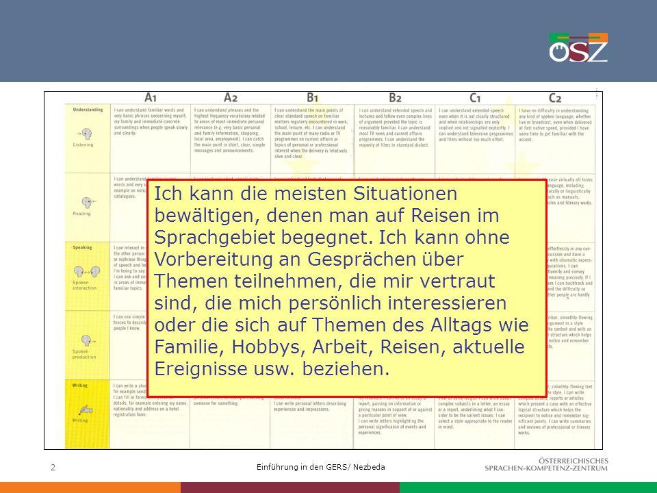 Einführung in den GERS/ Nezbeda 2 Ich kann die meisten Situationen bewältigen, denen man auf Reisen im Sprachgebiet begegnet. Ich kann ohne Vorbereitu