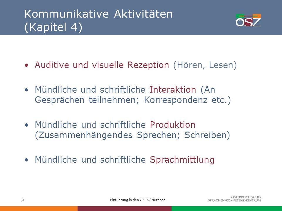 Einführung in den GERS/ Nezbeda 9 Kommunikative Aktivitäten (Kapitel 4) Auditive und visuelle Rezeption (Hören, Lesen) Mündlicheund schriftliche Inter