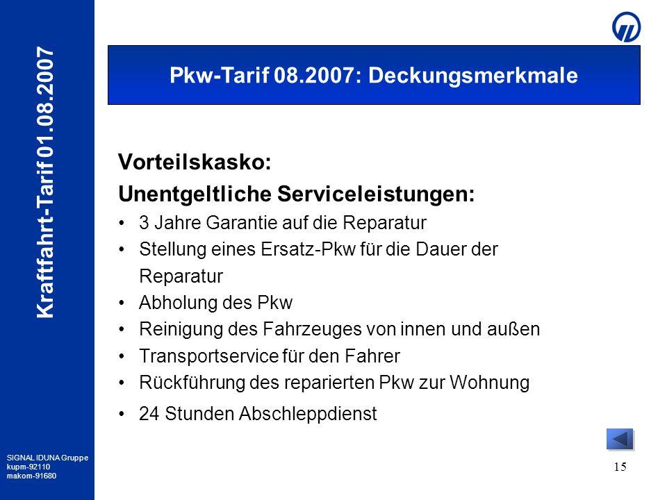SIGNAL IDUNA Gruppe kupm-92110 makom-91680 Kraftfahrt-Tarif 01.08.2007 15 Vorteilskasko: Unentgeltliche Serviceleistungen: 3 Jahre Garantie auf die Re