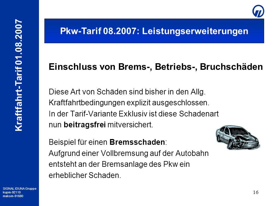 SIGNAL IDUNA Gruppe kupm-92110 makom-91680 Kraftfahrt-Tarif 01.08.2007 16 Einschluss von Brems-, Betriebs-, Bruchschäden Diese Art von Schäden sind bi