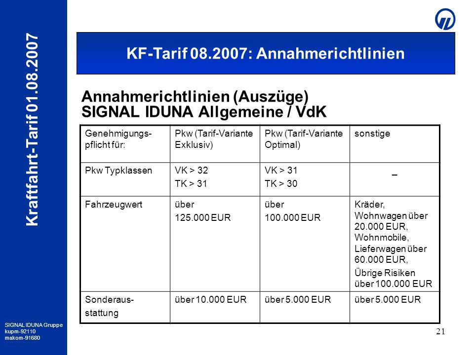 SIGNAL IDUNA Gruppe kupm-92110 makom-91680 Kraftfahrt-Tarif 01.08.2007 21 Annahmerichtlinien SIAV / VDK Genehmigungs- pflicht für: Pkw (Tarif-Variante
