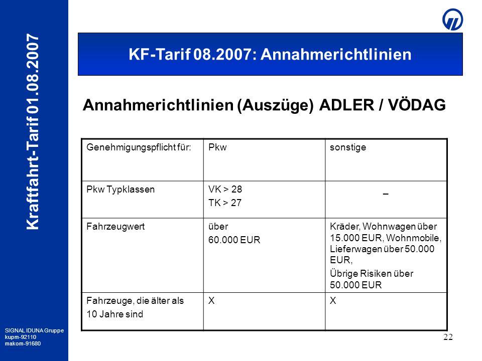 SIGNAL IDUNA Gruppe kupm-92110 makom-91680 Kraftfahrt-Tarif 01.08.2007 22 Annahmerichtlinien (Auszüge) ADLER / VÖDAG Genehmigungspflicht für:Pkwsonsti