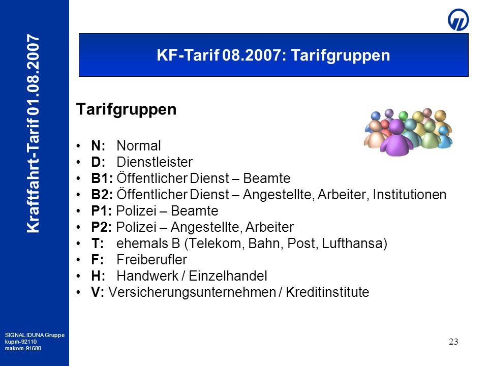 SIGNAL IDUNA Gruppe kupm-92110 makom-91680 Kraftfahrt-Tarif 01.08.2007 23 Tarifgruppen N: Normal D:Dienstleister B1: Öffentlicher Dienst – Beamte B2: