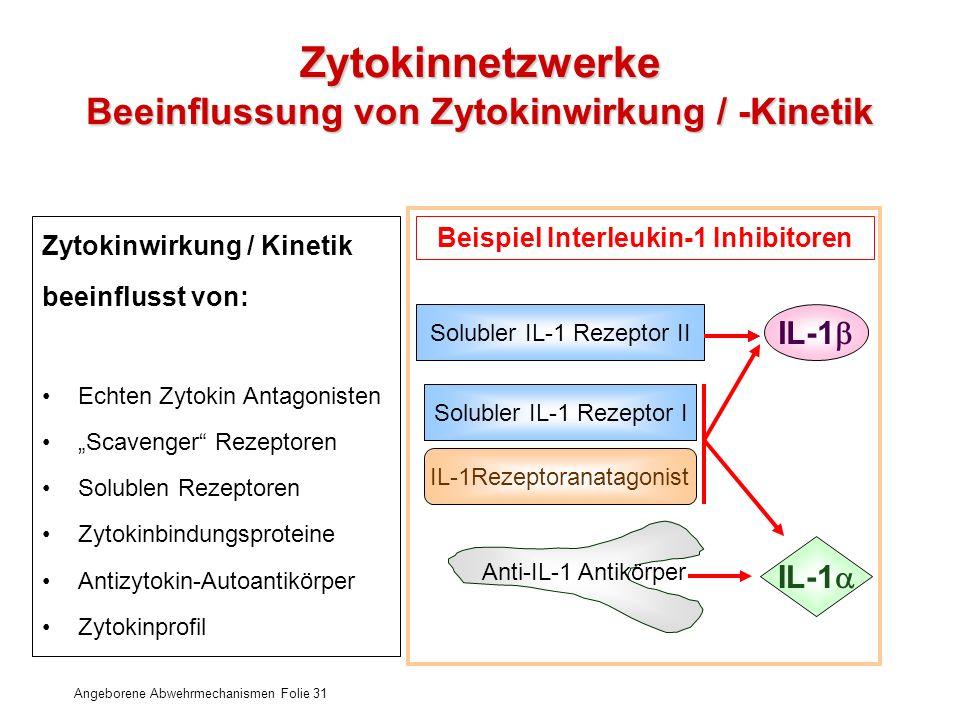 Angeborene Abwehrmechanismen Folie 31 Zytokinnetzwerke Beeinflussung von Zytokinwirkung / -Kinetik Zytokinwirkung / Kinetik beeinflusst von: Echten Zy