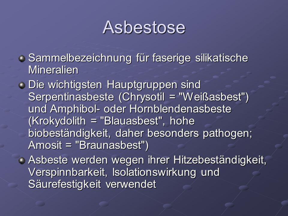 Asbestose Sammelbezeichnung für faserige silikatische Mineralien Die wichtigsten Hauptgruppen sind Serpentinasbeste (Chrysotil =