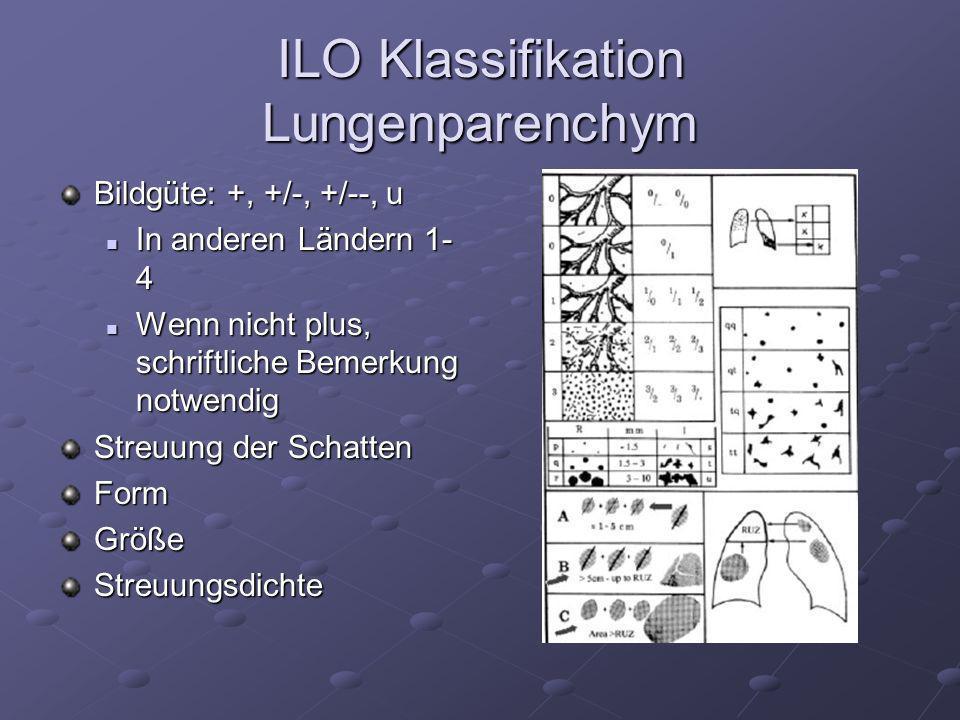 ILO Klassifikation Lungenparenchym Bildgüte: +, +/-, +/--, u In anderen Ländern 1- 4 In anderen Ländern 1- 4 Wenn nicht plus, schriftliche Bemerkung n