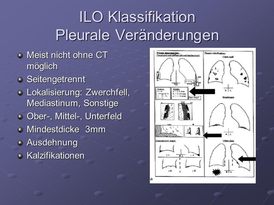 ILO Klassifikation Pleurale Veränderungen Meist nicht ohne CT möglich Seitengetrennt Lokalisierung: Zwerchfell, Mediastinum, Sonstige Ober-, Mittel-,