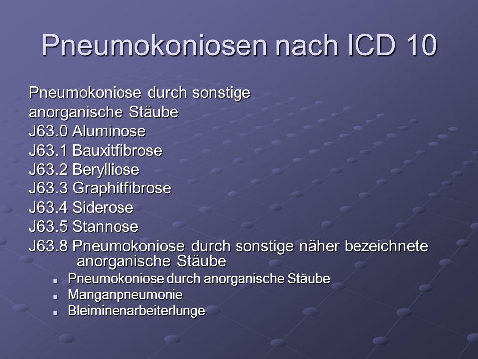 Pneumokoniosen nach ICD 10 Pneumokoniose durch sonstige anorganische Stäube J63.0 Aluminose J63.1 Bauxitfibrose J63.2 Berylliose J63.3 Graphitfibrose