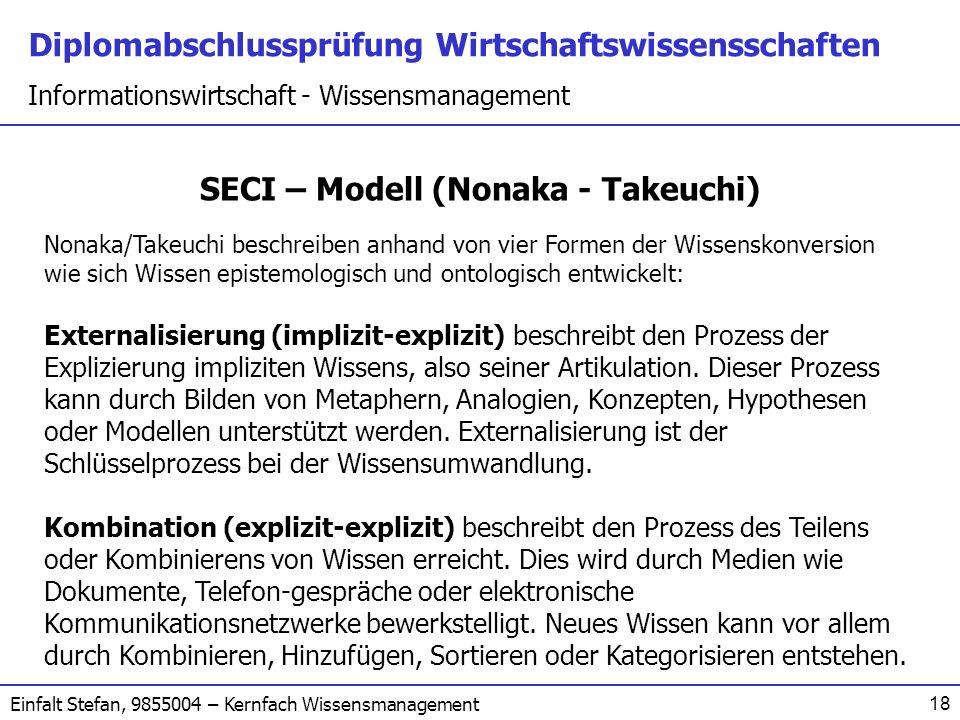 Diplomabschlussprüfung Wirtschaftswissensschaften Informationswirtschaft - Wissensmanagement Einfalt Stefan, 9855004 – Kernfach Wissensmanagement 18 S