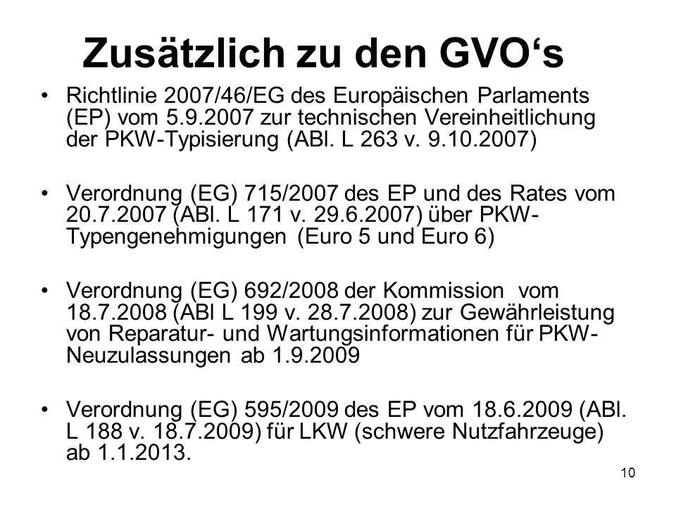 Zusätzlich zu den GVOs Richtlinie 2007/46/EG des Europäischen Parlaments (EP) vom 5.9.2007 zur technischen Vereinheitlichung der PKW-Typisierung (ABl.