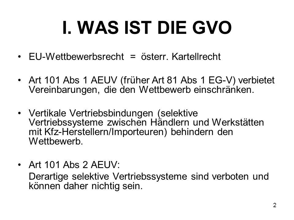 I. WAS IST DIE GVO EU-Wettbewerbsrecht = österr. Kartellrecht Art 101 Abs 1 AEUV (früher Art 81 Abs 1 EG-V) verbietet Vereinbarungen, die den Wettbewe