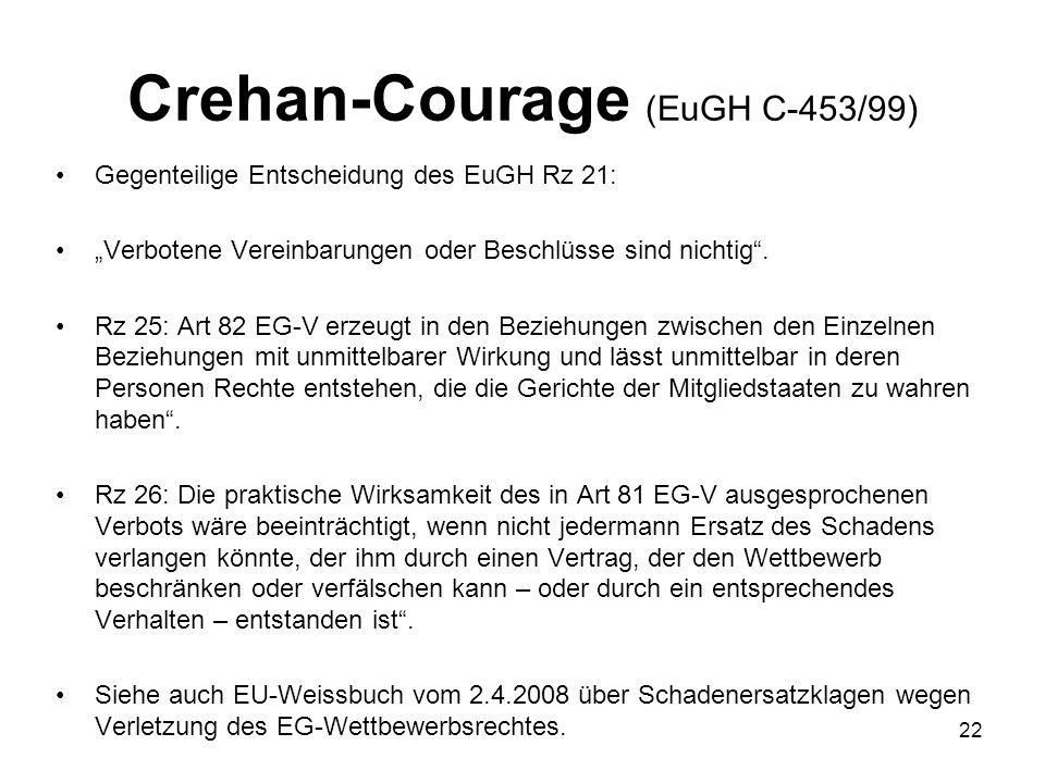 Crehan-Courage (EuGH C-453/99) Gegenteilige Entscheidung des EuGH Rz 21: Verbotene Vereinbarungen oder Beschlüsse sind nichtig. Rz 25: Art 82 EG-V erz