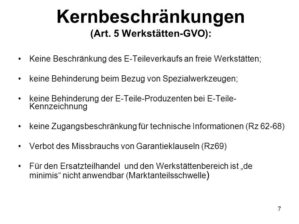 Kernbeschränkungen (Art. 5 Werkstätten-GVO): Keine Beschränkung des E-Teileverkaufs an freie Werkstätten; keine Behinderung beim Bezug von Spezialwerk