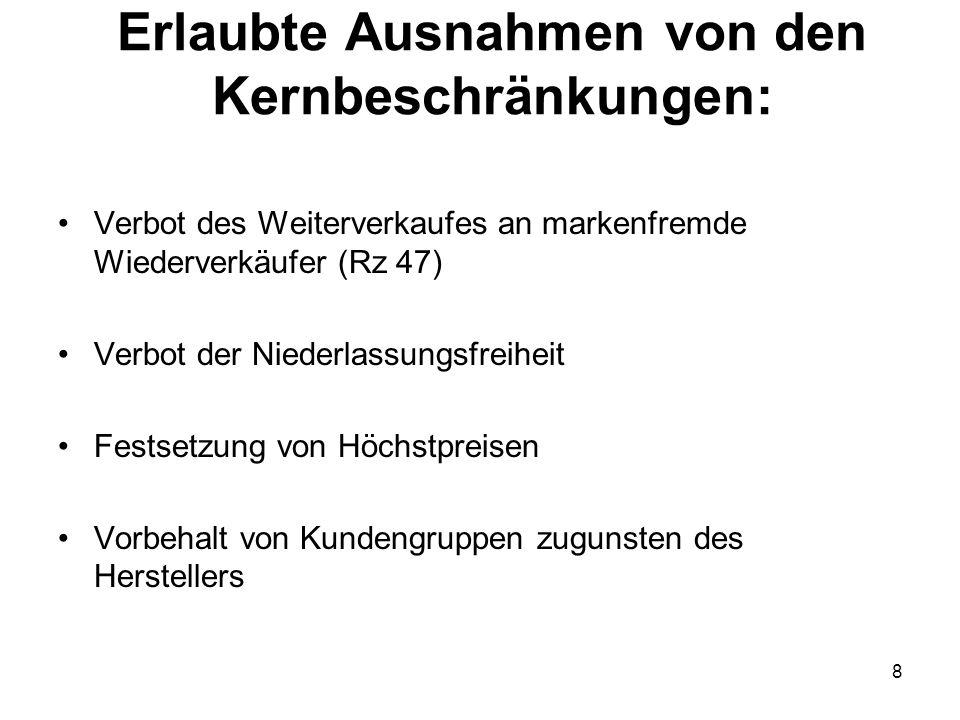 Erlaubte Ausnahmen von den Kernbeschränkungen: Verbot des Weiterverkaufes an markenfremde Wiederverkäufer (Rz 47) Verbot der Niederlassungsfreiheit Fe
