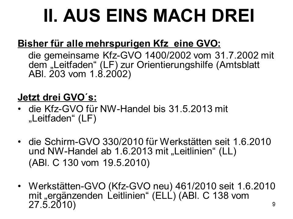 II. AUS EINS MACH DREI Bisher für alle mehrspurigen Kfz eine GVO: die gemeinsame Kfz-GVO 1400/2002 vom 31.7.2002 mit dem Leitfaden (LF) zur Orientieru