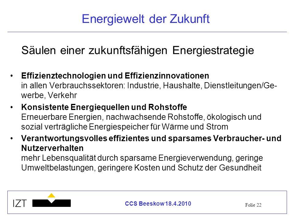 Folie 22 CCS Beeskow 18.4.2010 Energiewelt der Zukunft Säulen einer zukunftsfähigen Energiestrategie Effizienztechnologien und Effizienzinnovationen i