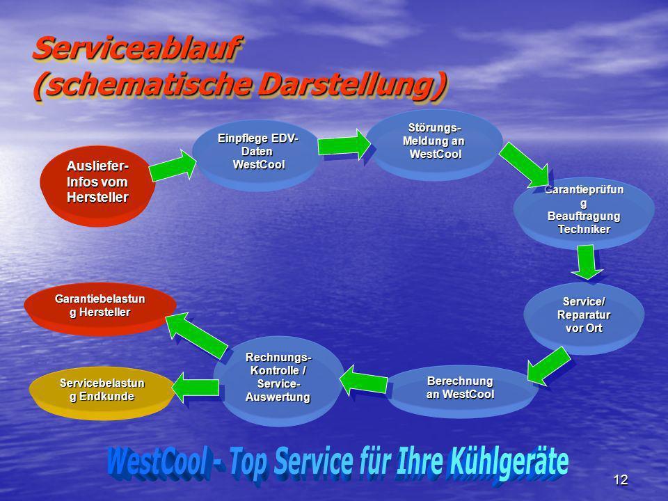 12 Serviceablauf (schematische Darstellung) Ausliefer- Infos vom Hersteller Einpflege EDV- Daten WestCool WestCool Störungs- Meldung an WestCool WestC