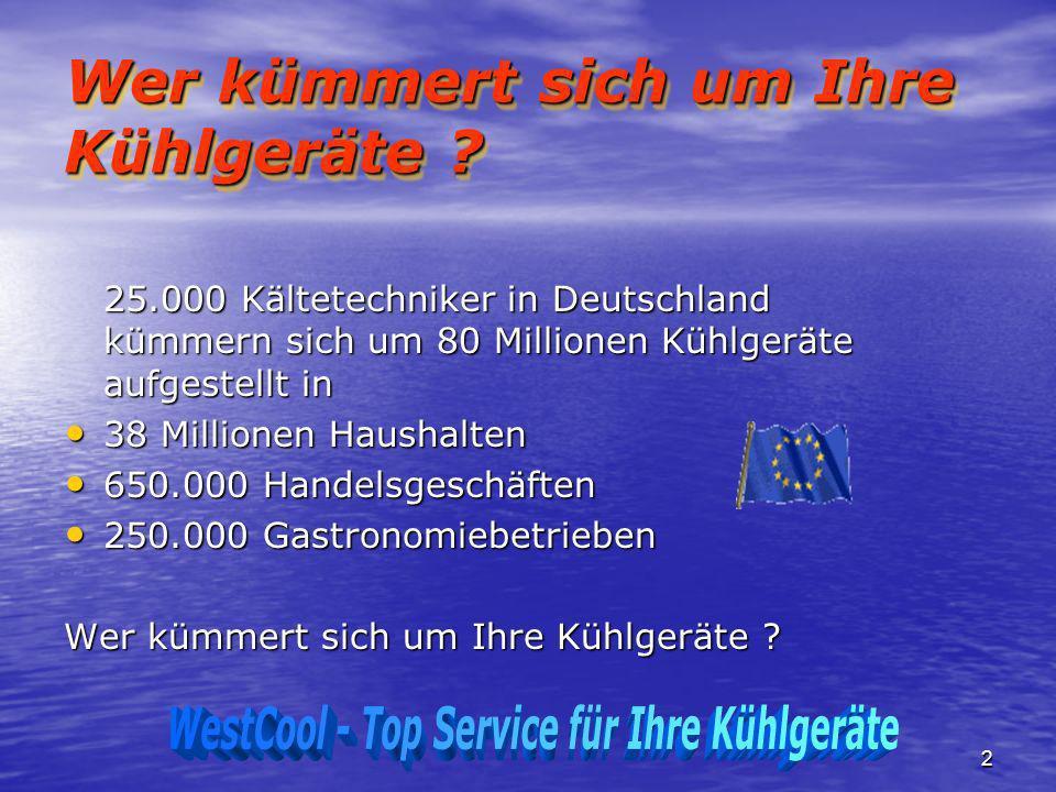 2 Wer kümmert sich um Ihre Kühlgeräte ? 25.000 Kältetechniker in Deutschland kümmern sich um 80 Millionen Kühlgeräte aufgestellt in 38 Millionen Haush