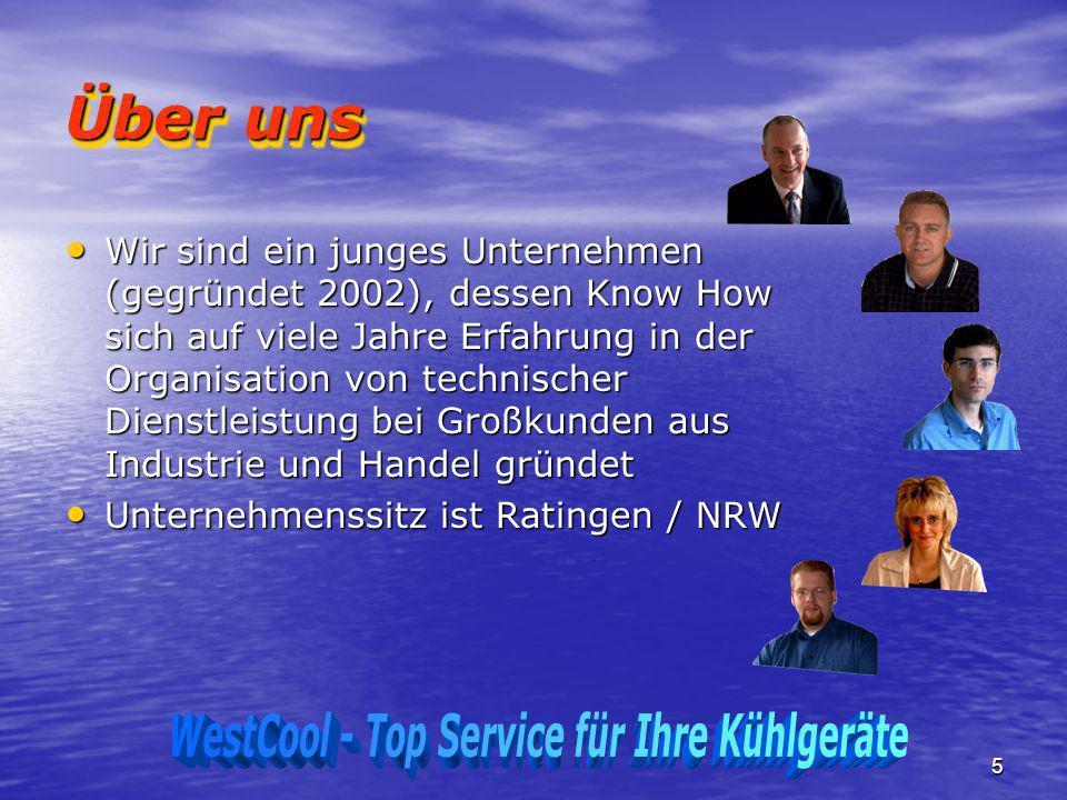 5 Über uns Wir sind ein junges Unternehmen (gegründet 2002), dessen Know How sich auf viele Jahre Erfahrung in der Organisation von technischer Dienst