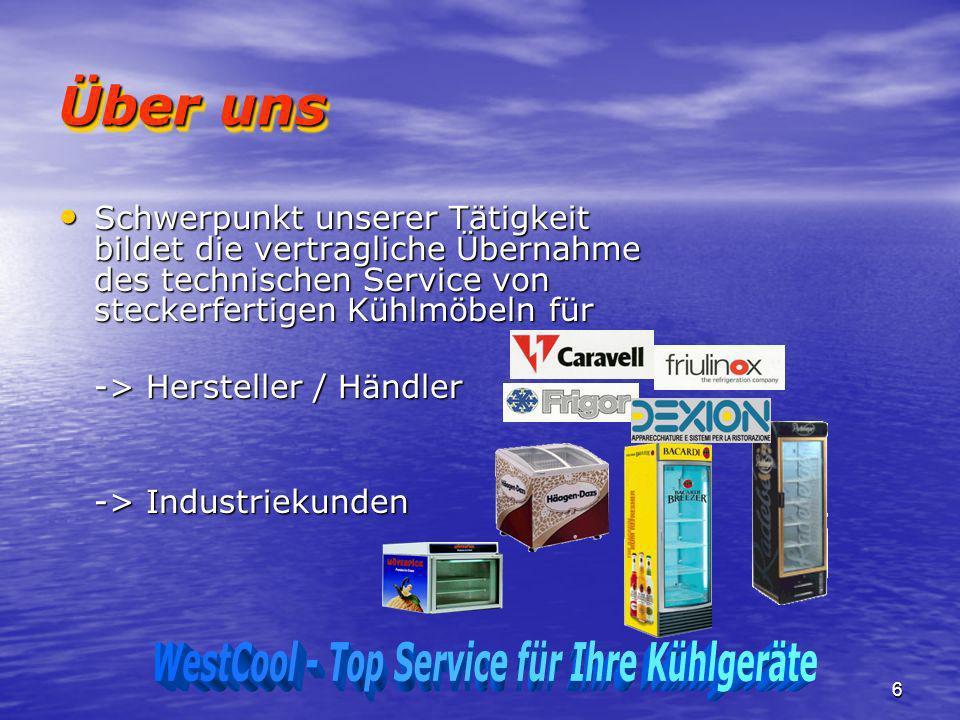 6 Über uns Schwerpunkt unserer Tätigkeit bildet die vertragliche Übernahme des technischen Service von steckerfertigen Kühlmöbeln für Schwerpunkt unse