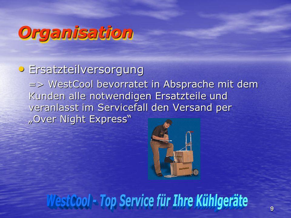 9 OrganisationOrganisation Ersatzteilversorgung Ersatzteilversorgung => WestCool bevorratet in Absprache mit dem Kunden alle notwendigen Ersatzteile u