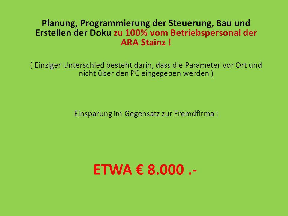 ETWA 8.000.- Planung, Programmierung der Steuerung, Bau und Erstellen der Doku zu 100% vom Betriebspersonal der ARA Stainz ! ( Einziger Unterschied be