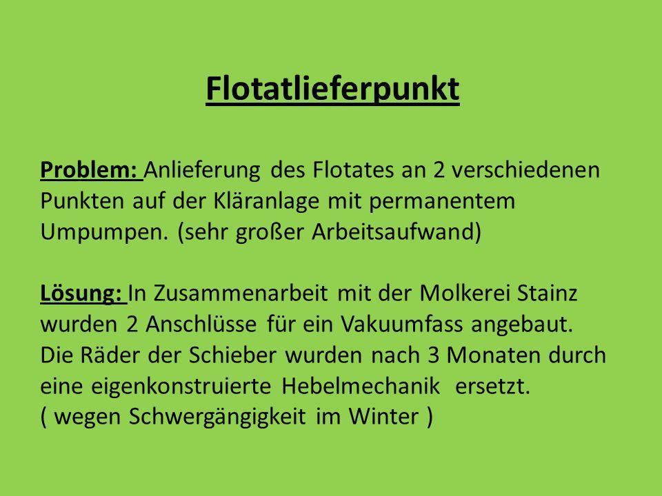 Flotatlieferpunkt Problem: Anlieferung des Flotates an 2 verschiedenen Punkten auf der Kläranlage mit permanentem Umpumpen. (sehr großer Arbeitsaufwan