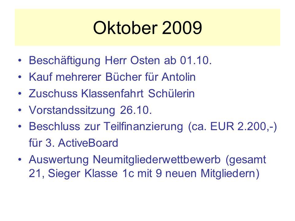 Oktober 2009 Beschäftigung Herr Osten ab 01.10.