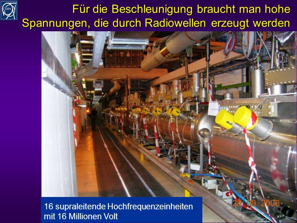 R.Schmidt - Ausstellung Weltmaschine 10 Für die Beschleunigung braucht man hohe Spannungen, die durch Radiowellen erzeugt werden 16 supraleitende Hochfrequenzeinheiten mit 16 Millionen Volt