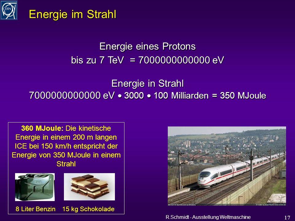 R.Schmidt - Ausstellung Weltmaschine 17 Energie im Strahl Energie eines Protons bis zu 7 TeV = 7000000000000 eV Energie in Strahl 7000000000000 eV 3000 100 Milliarden = 350 MJoule 360 MJoule: Die kinetische Energie in einem 200 m langen ICE bei 150 km/h entspricht der Energie von 350 MJoule in einem Strahl 15 kg Schokolade8 Liter Benzin