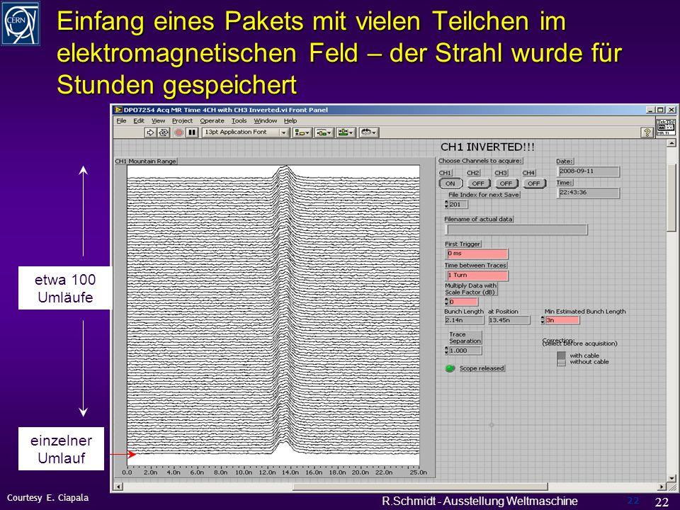 R.Schmidt - Ausstellung Weltmaschine 22 Einfang eines Pakets mit vielen Teilchen im elektromagnetischen Feld – der Strahl wurde für Stunden gespeichert 22 Courtesy E.