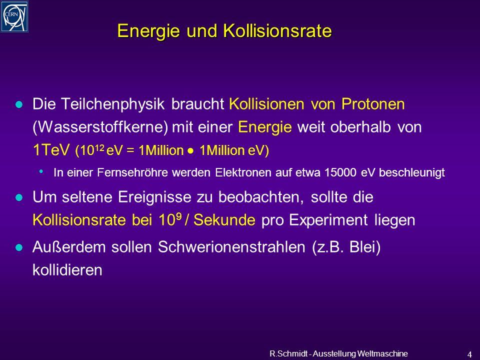 R.Schmidt - Ausstellung Weltmaschine 15 Teilchenstrahl ~1.3 mm 56.0 mm l Ultrahochvakuum für Strahlrohr l Isoliervakuum für die Kryostaten weniger Atome pro Volumen als auf der Mondoberfläche Vakuumsysteme Strahlrohr mit Innenschirm