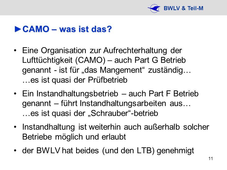 BWLV & Teil-M 11 CAMO – was ist das?CAMO – was ist das? Eine Organisation zur Aufrechterhaltung der Lufttüchtigkeit (CAMO) – auch Part G Betrieb genan