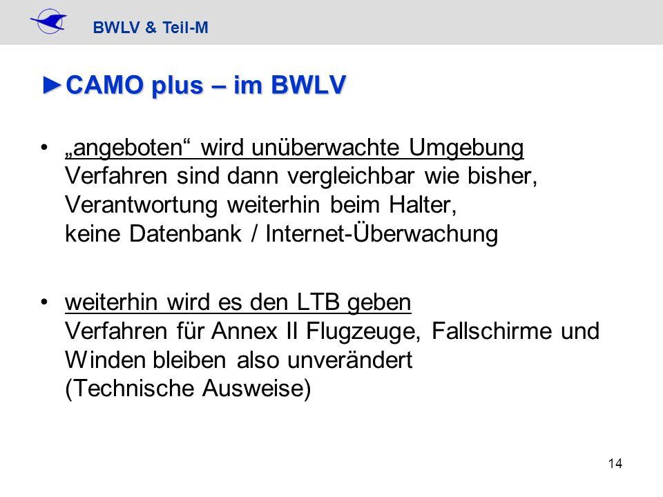 BWLV & Teil-M 14 CAMO plus – im BWLVCAMO plus – im BWLV angeboten wird unüberwachte Umgebung Verfahren sind dann vergleichbar wie bisher, Verantwortun