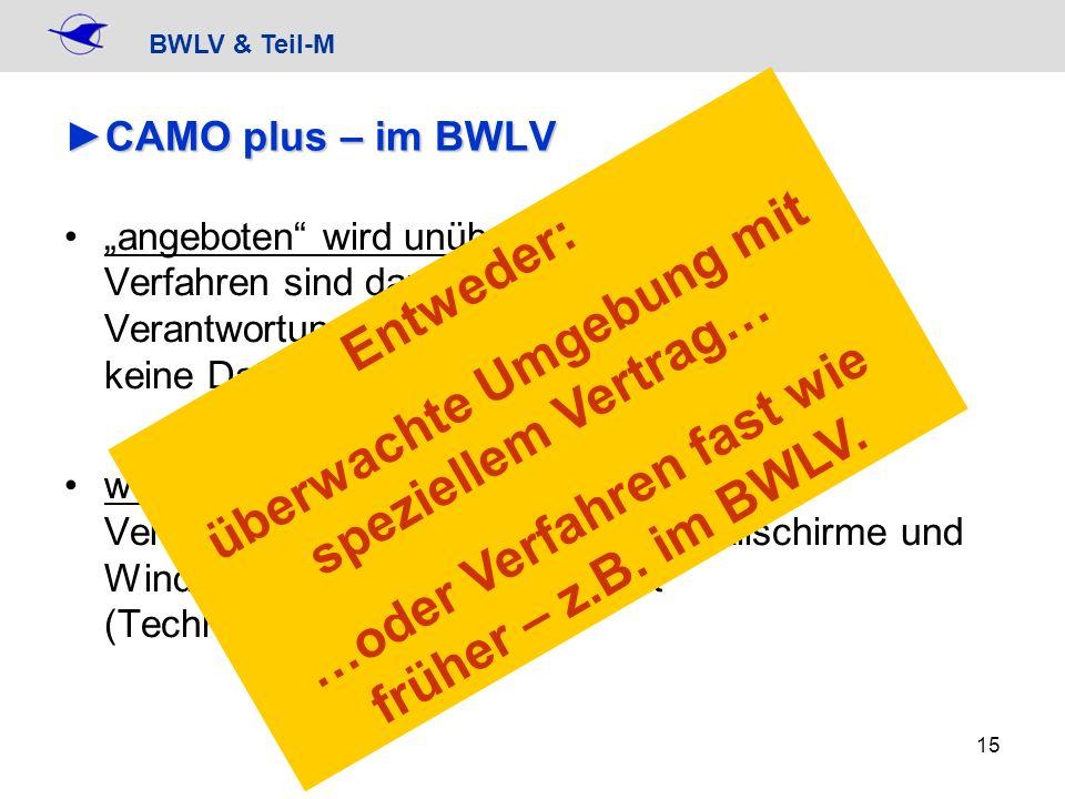 BWLV & Teil-M 15 CAMO plus – im BWLVCAMO plus – im BWLV angeboten wird unüberwachte Umgebung Verfahren sind dann vergleichbar wie bisher, Verantwortun