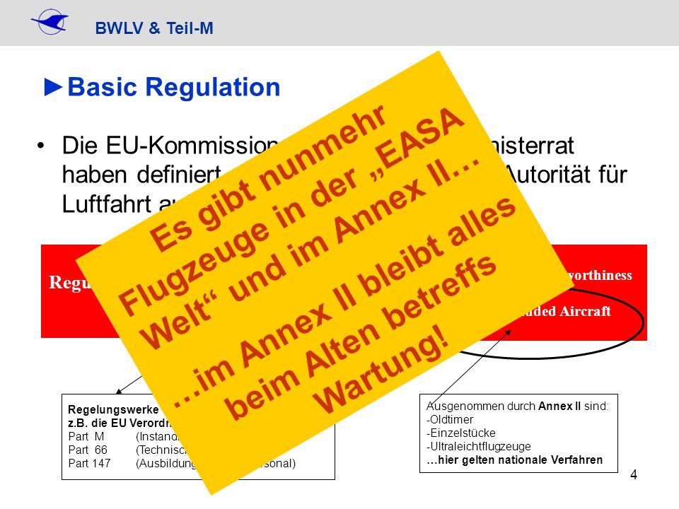 BWLV & Teil-M 15 CAMO plus – im BWLVCAMO plus – im BWLV angeboten wird unüberwachte Umgebung Verfahren sind dann vergleichbar wie bisher, Verantwortung weiterhin beim Halter, keine Datenbank / Internet-Überwachung weiterhin wird es den LTB geben Verfahren für Annex II Flugzeuge, Fallschirme und Winden bleiben also unverändert (Technische Ausweise) Entweder: überwachte Umgebung mit speziellem Vertrag… …oder Verfahren fast wie früher – z.B.