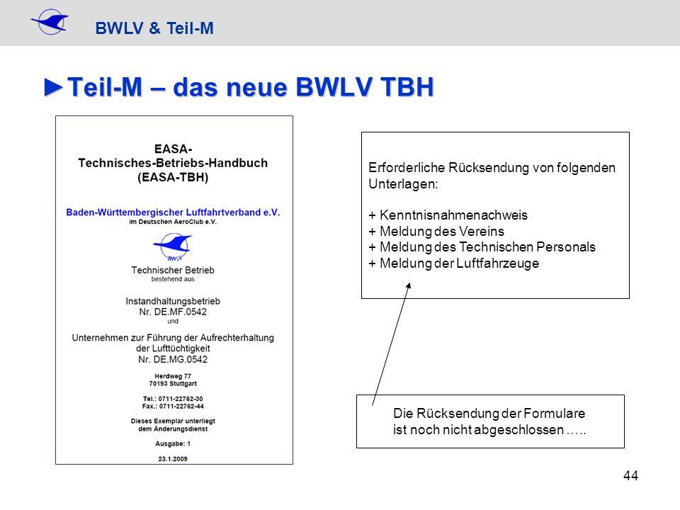 BWLV & Teil-M 44 Teil-M – das neue BWLV TBHTeil-M – das neue BWLV TBH Erforderliche Rücksendung von folgenden Unterlagen: + Kenntnisnahmenachweis + Me