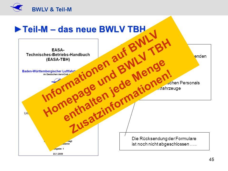 BWLV & Teil-M 45 Teil-M – das neue BWLV TBHTeil-M – das neue BWLV TBH Erforderliche Rücksendung von folgenden Unterlagen: + Kenntnisnahmenachweis + Me