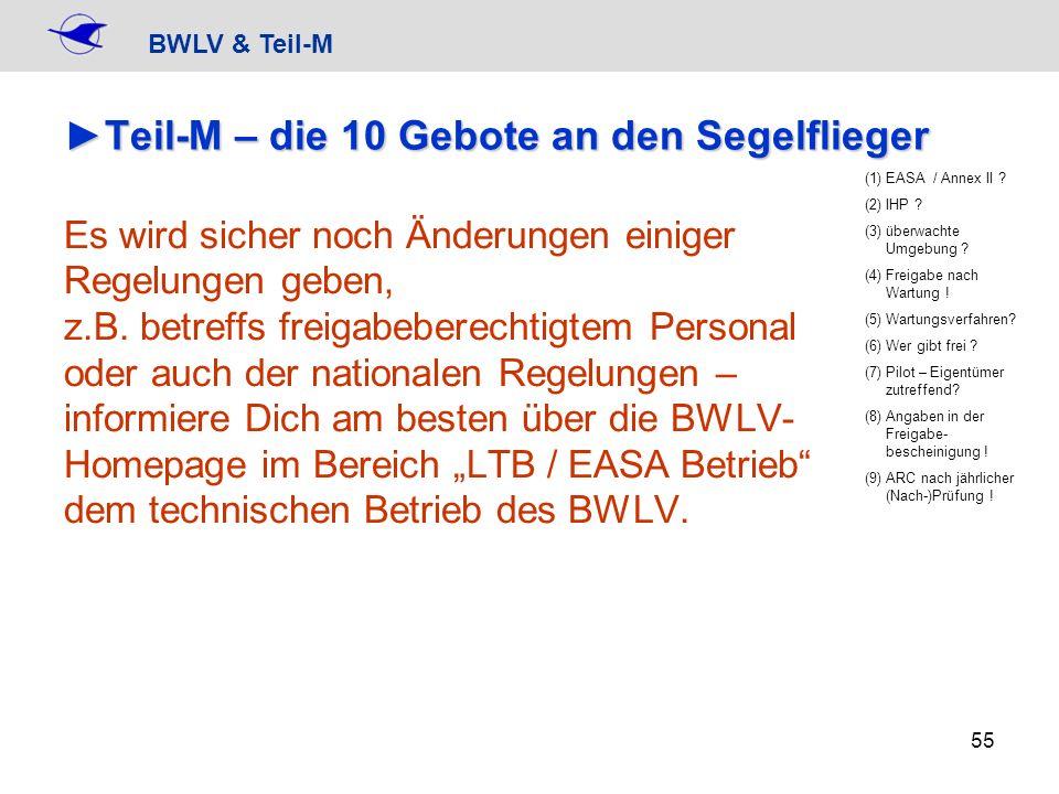 BWLV & Teil-M 55 Teil-M – die 10 Gebote an den SegelfliegerTeil-M – die 10 Gebote an den Segelflieger Es wird sicher noch Änderungen einiger Regelunge