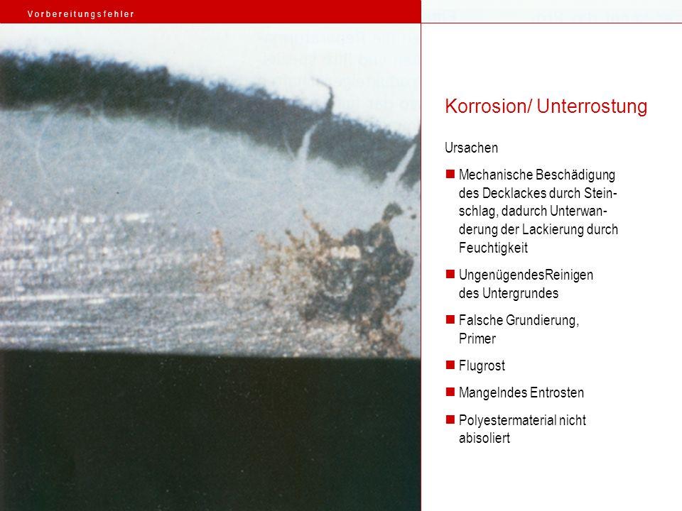 Ursachen Mechanische Beschädigung des Decklackes durch Stein- schlag, dadurch Unterwan- derung der Lackierung durch Feuchtigkeit UngenügendesReinigen