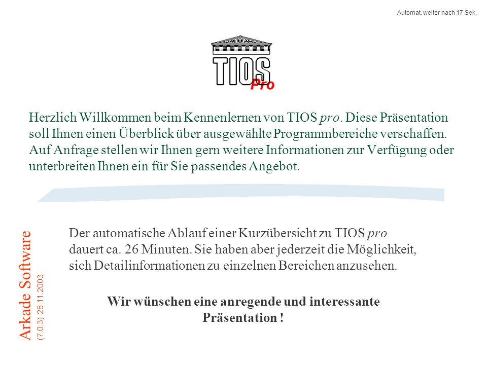 Herzlich Willkommen beim Kennenlernen von TIOS pro.
